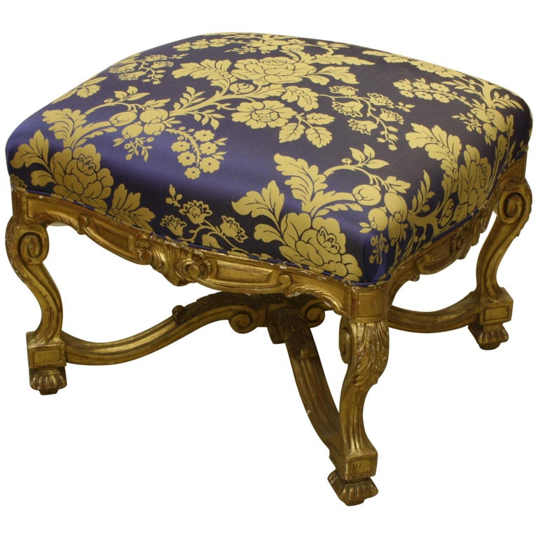 French Regence Style Carved Giltwood Stool, Tabouret or Ottoman For Sale