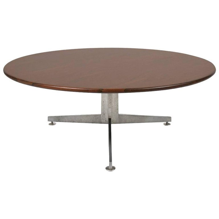 Ward Bennett Rosewood and Aluminum Coffee Table by Lehigh