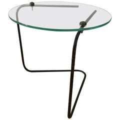 French 1950s Small Glass and Metal Low Side Table