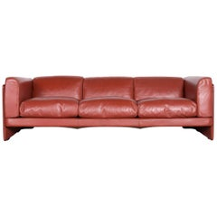 Poltrona Frau Le Chapanelle Designer Leather Sofa Orange by Tito Agnoli