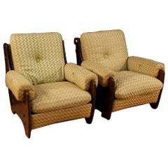 Rossi di Albizzate 20th Century Fabric and Wood Italian Pair of Design Armchairs