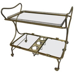 Midcentury Brass Bar Cart, Italy, 1950s