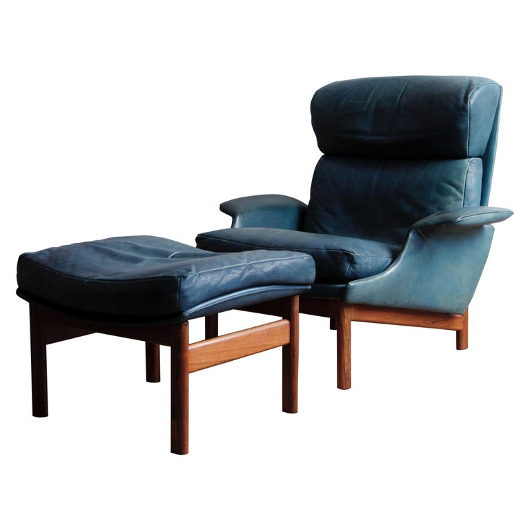 Rare Leather and Rosewood Lounge Chair and Ottoman by Ib Kofod-Larsen