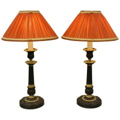 Pair of Patinated Bronze Candlestick Lamps with Silk Shades