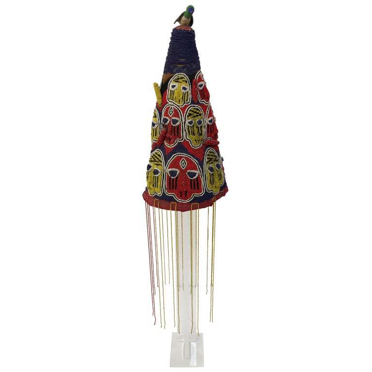 Yoruba Nigeria African Royal Beaded Headdress Crown on Lucite Stand