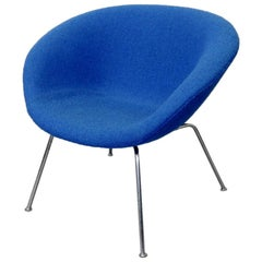 Arne Jacobsen Fritz Hansen Restored Blue Pot Chair