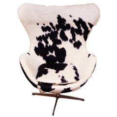 Cowhide Black and White Egg Armchair