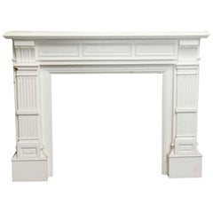 1880s Baroque Style White Antique Wooden Mantel
