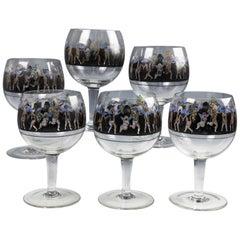 Six Large Vetri Della Arte Vedar Italian Cocktail Glasses