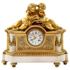 Antique 19th Century Louis XVI French Gilded Bronze and Marble Mantel Clock
