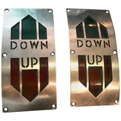 Pair of Art Deco Elevator Up Down Direction Panels