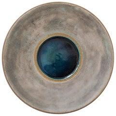 Stoneware Platter with Molten Glass Centre by Bruno Gambone, Italy circa 1980s