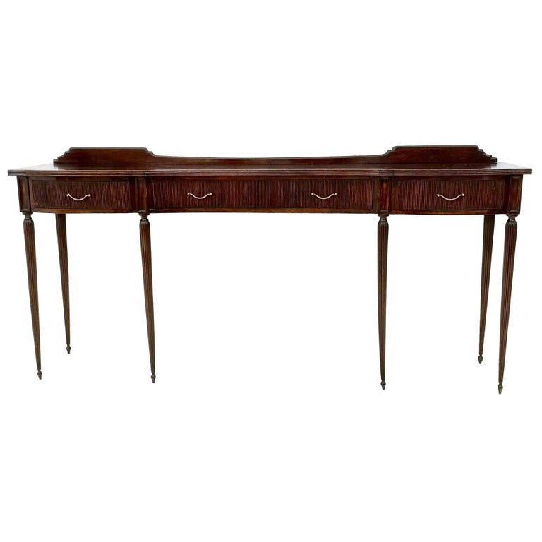 Midcentury Mahogany Console Table with Brass Handles, Italy, 1950s