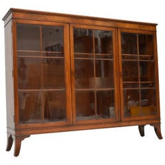 Antique Mahogany Three-Door Bookcase
