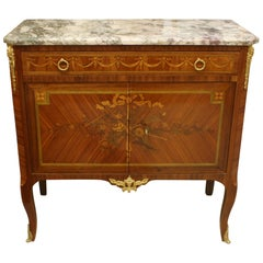 French 19th Century Marquetry Commode with Marble Top