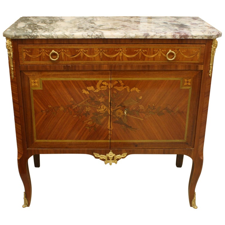 French 19th Century Marquetry Commode with Marble Top For Sale