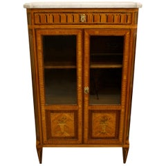 Small French Transitional Louis XV / Louis XVI Marquetry Bookcase Vitrine