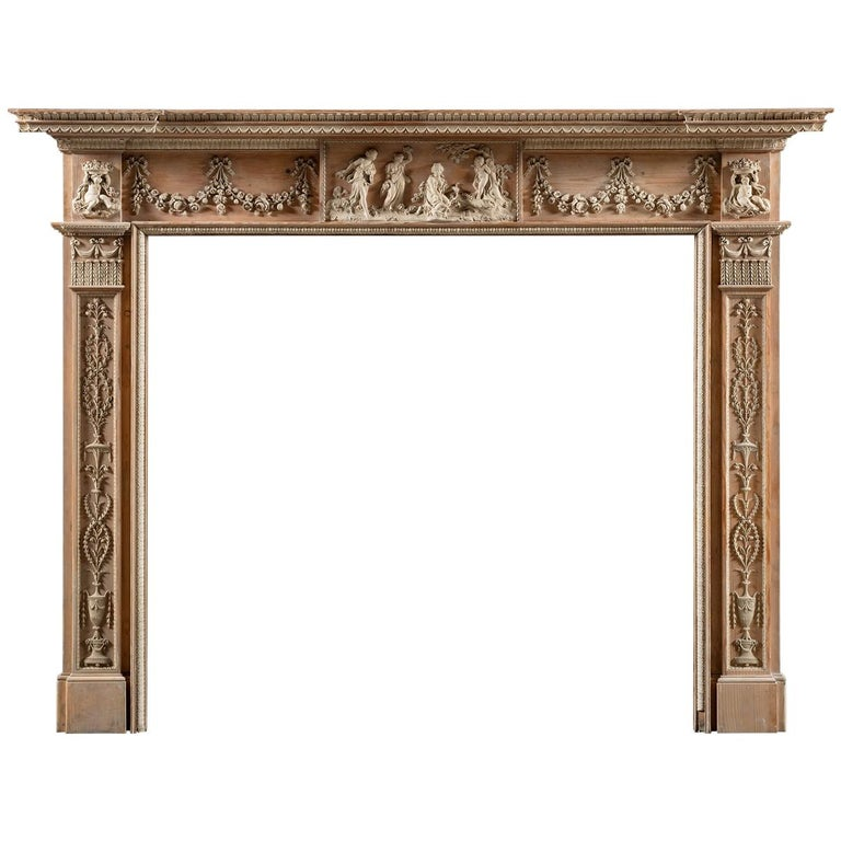 Superb George III, Neo-Classical, Gesso Mounted Pine Fireplace Mantel For Sale
