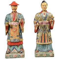Pair of Polychrome Painted Chinoiserie Figures