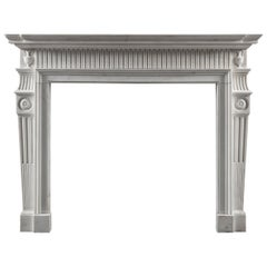 Early George III, Neo-Classical Fireplace Mantel in White Statuary Marble