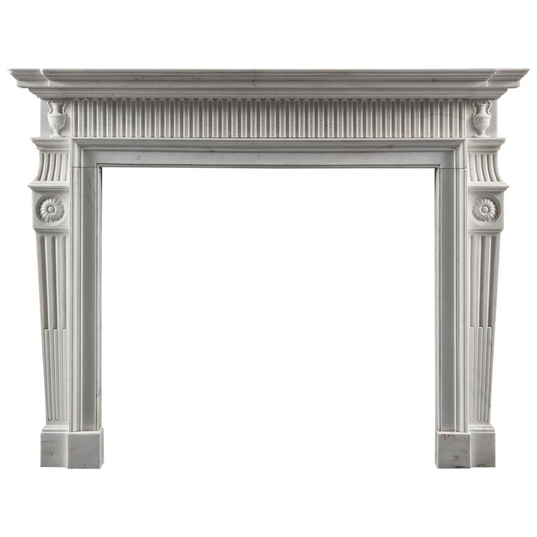 Early George III, Neo-Classical Fireplace Mantel in White Statuary Marble For Sale
