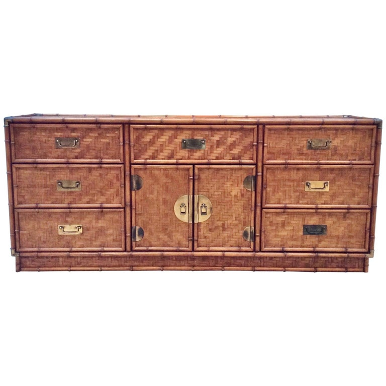 1970s French Bamboo Sideboard or Cabinet