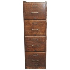 Quarter Sawn Four Drawer Oak File Cabinet with Recessed Panels, 1920s