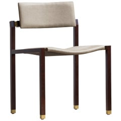Joinery Dining Chair by Billy Cotton in Walnut, Brushed Brass and Linen