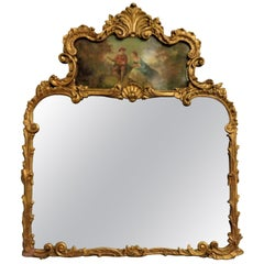 Louis XVI Style Carved Over-The-Mantle Mirror with a Trumeau Painted Scene