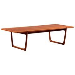 Huge Rectangular Teak Coffee Table Designed Peter Hvidt Denmark, 1950