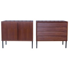 Teak Cabinets on Metal Base, France, 1950s