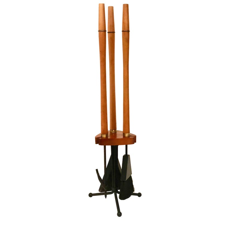 1950s Atomic Age Wood and Iron Fireplace Accessory Tool Set For Sale