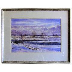 Irish Watercolor by Rev JH Flack of Winter Scene