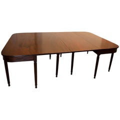 Large Banquet Size Drop Leaf Mahogany Dining Table, Early 19th Century