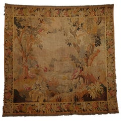 Flemish Wool Tapestry Wall Hanging with Castle and Forest Scene, 19th Century