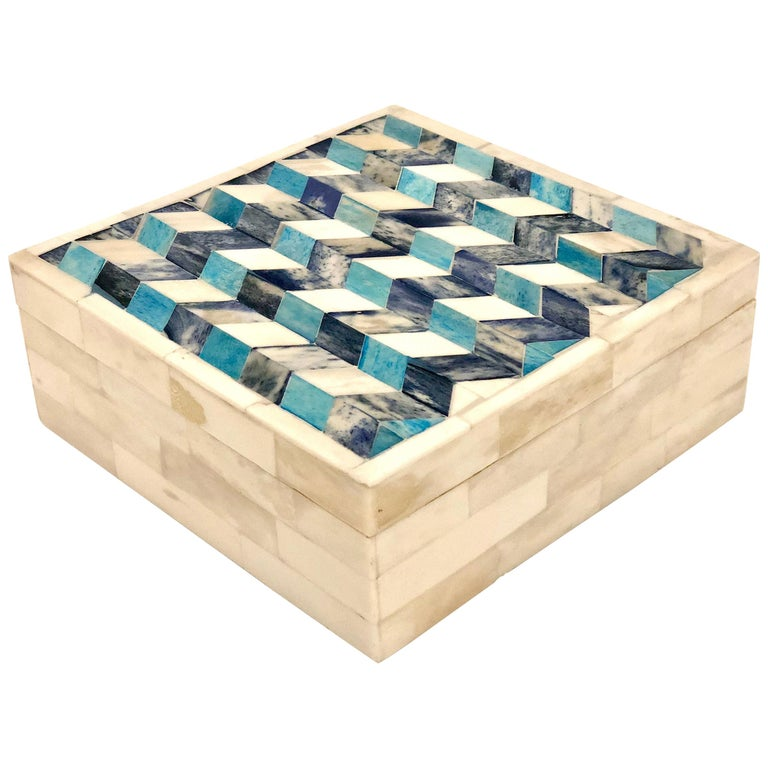 Geometric Tessellated Stone Square Box For Sale