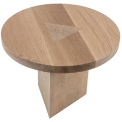 Round Side Table in Oak with Inlay by Tinatin Kilaberize