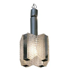 1960s Mid-Century Modern and Textured Glass Pendant Light with Chrome Detail
