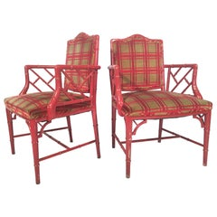Red Faux Bamboo Chippendale Dining Armchairs, Pair