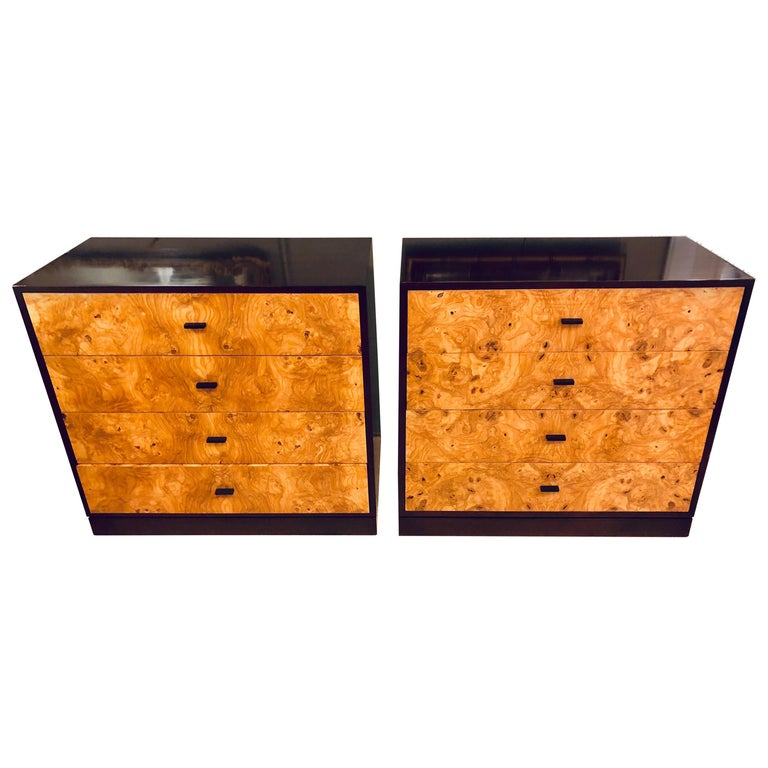 Pair of Harvey Probber Labeled Burl Wood and Mahogany Commode Chests Nightstands For Sale