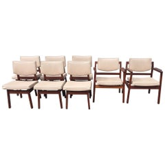Set of 8 Original Jens Risom Walnut Dining Chairs in Original Leather Upholstery