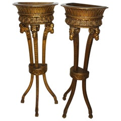 Pair of French 19th-20th Century Giltwood Carved Standing Pedestal Planters