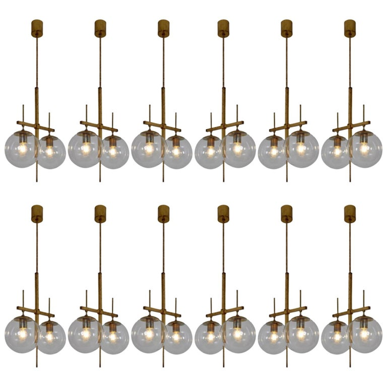 Midcentury Pendants in Handblown Glass and Patinated Brass Fixture, 1960s