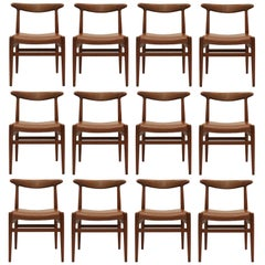 Set of 12 Dining Chairs model W2 by Hans J. Wegner, 1954