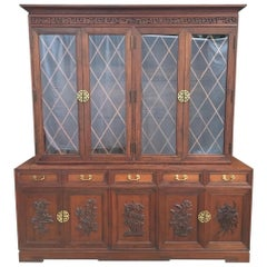 Hand-Carved Asian Chinoiserie China Cabinet Hutch by Ricardo Lynn