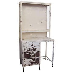 1920s Medical Surgical Storage Cabinet Desk with Chippy Paint