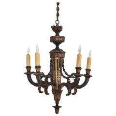 French Louis XVI Style Carved Giltwood and Painted 5-Light Chandelier