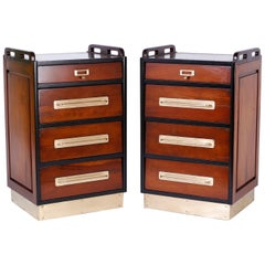 Pair of Mahogany Nightstands in the Nautical Tradition
