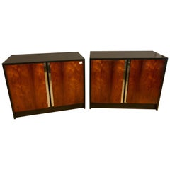 Pair of Ebony & Rosewood Commodes or Nightstands with Chrome Trim Baughman Look