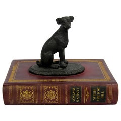 21st Century Small Dog Sculpture on Faux Book